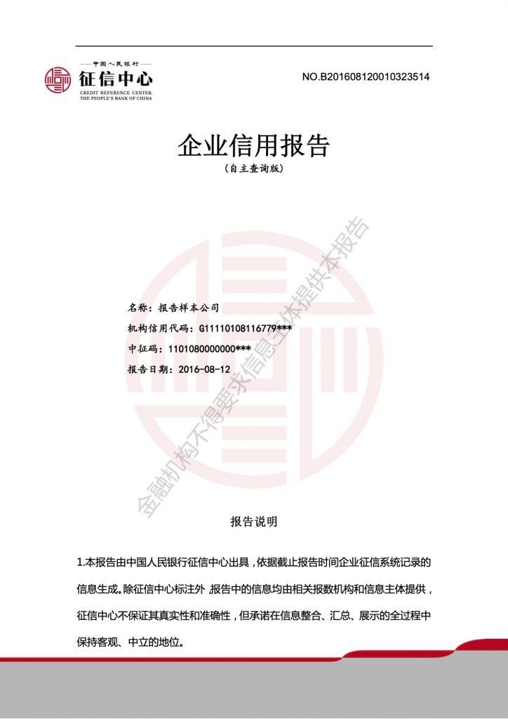 企业信用报告模板(自主查询版)